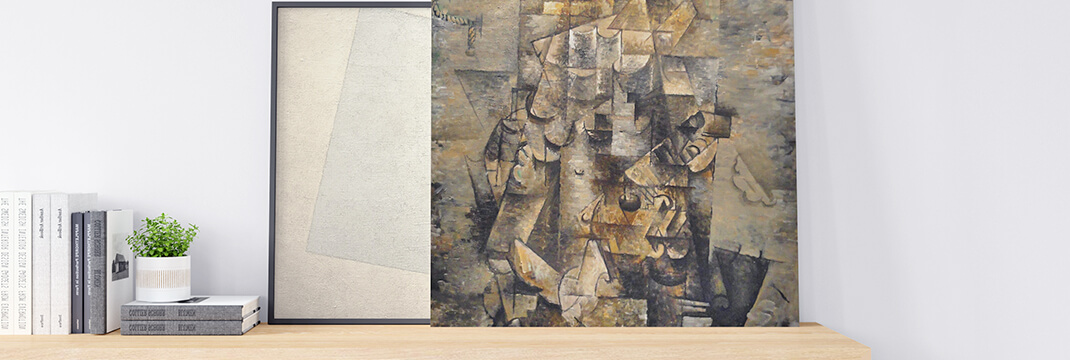 White on White by Kazimir Malevich and The Man with a Guitar by Georges Braque
